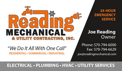 reading mechanical business card - Contractor Business Cards