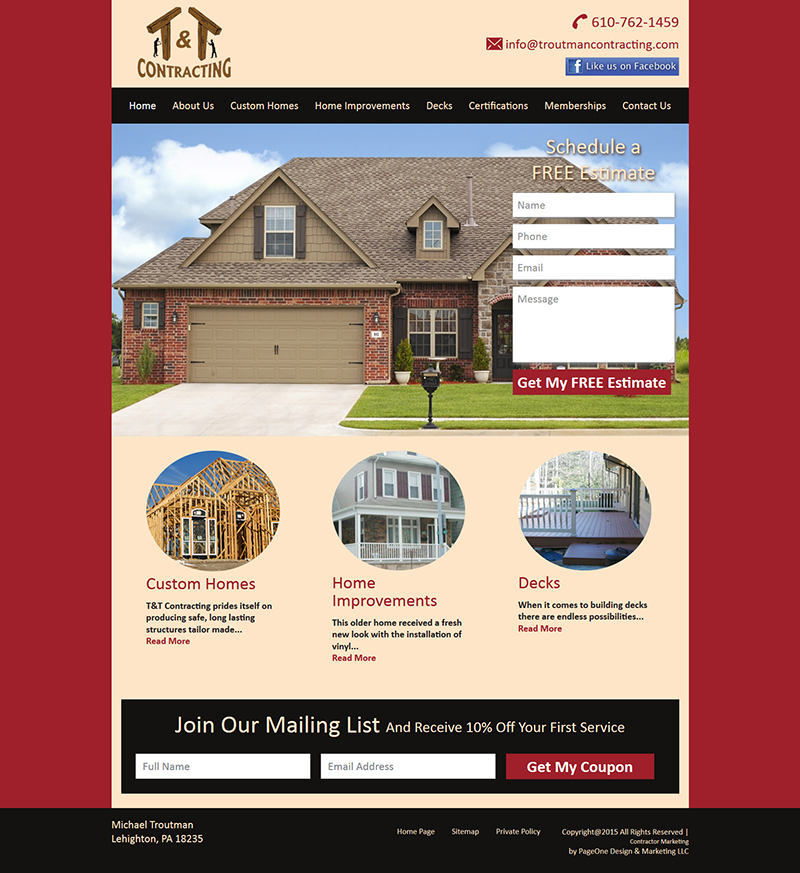 home web design. T  Contracting website designed by Contractor Marketing 911 Web Design Website For Contractors